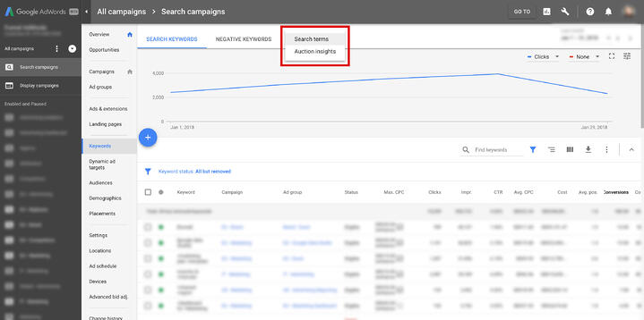 Google AdWords Search Term Report