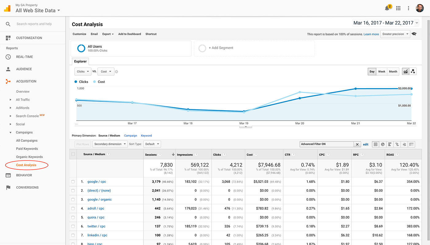 This is what you can do with cost data in Google Analytics