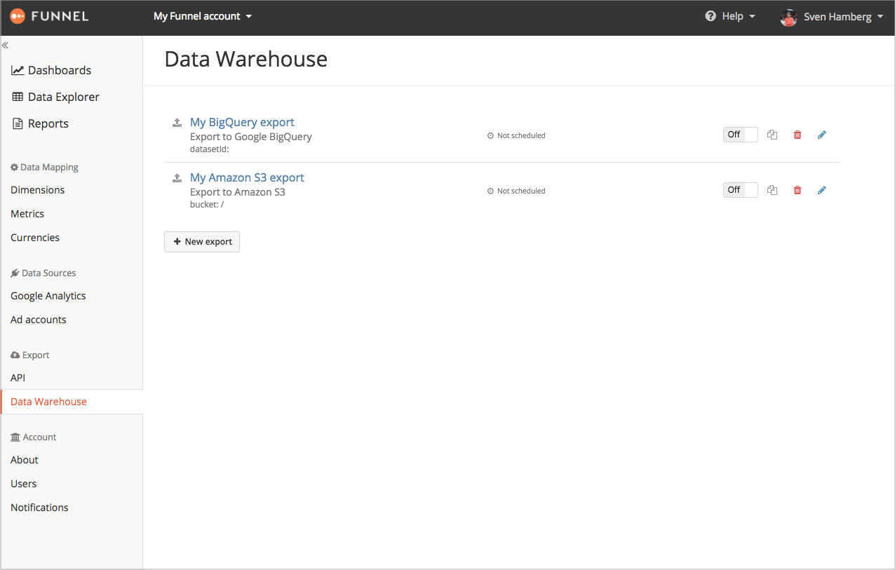 New data warehouse exports